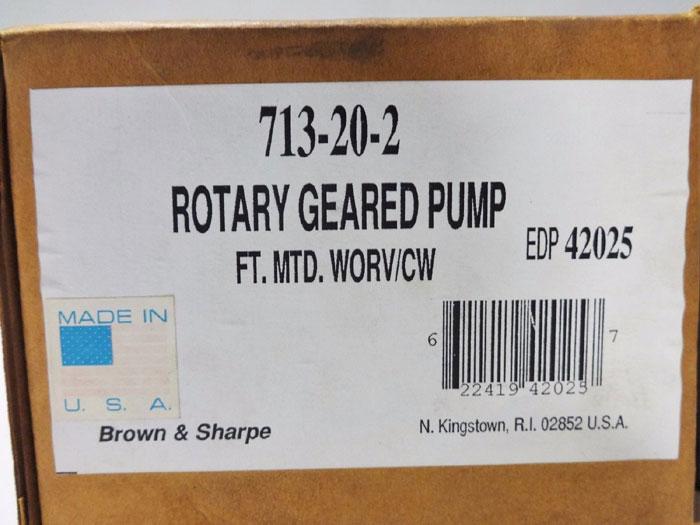 "BROWN & SHARPE 1/2"" ROTARY GEARED PUMP 713-20-2"