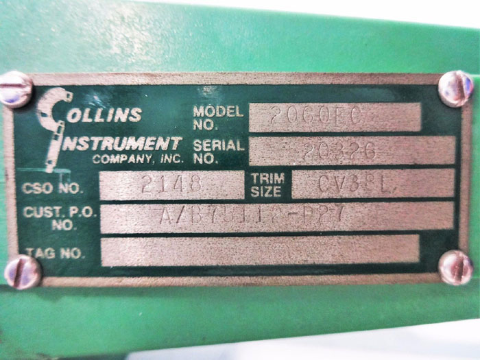 "COLLINS INSTRUMENT 2"" PLASTIC CONTROL VALVE 2060FC"
