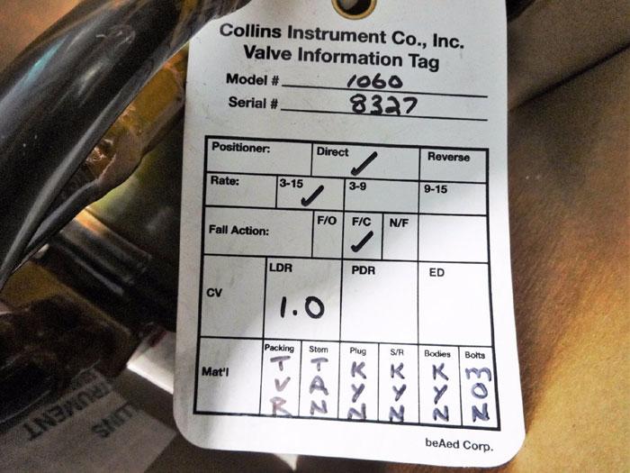 "COLLINS INSTRUMENT 1"" PLASTIC CONTROL VALVE 1060-1-839C61-D5L-1L-TMXX"