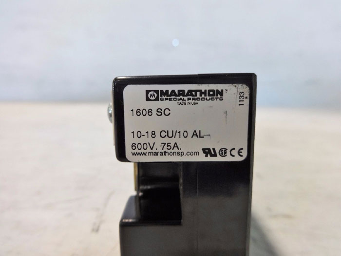 LOT OF (4) MARATHON 600V 75A HEAVY DUTY TERMINAL BLOCK 1606 SC
