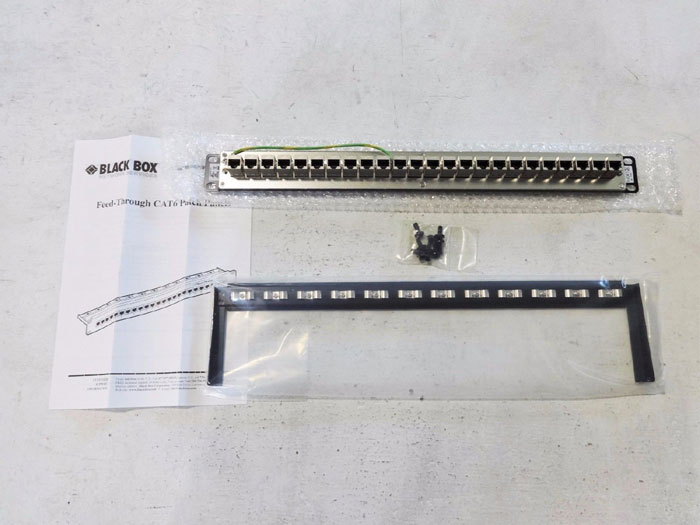 BLACK BOX FEED-THROUGH CAT6 PATCH PANEL 24 PORT SHIELDED JPM814A