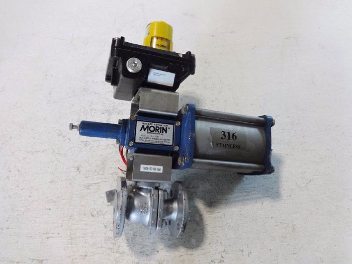 "KTM 1"" 150# ACTUATED BALL VALVE EB11 EB100 W/ MORIN ROTARY ACTUATOR B-015U-S060"