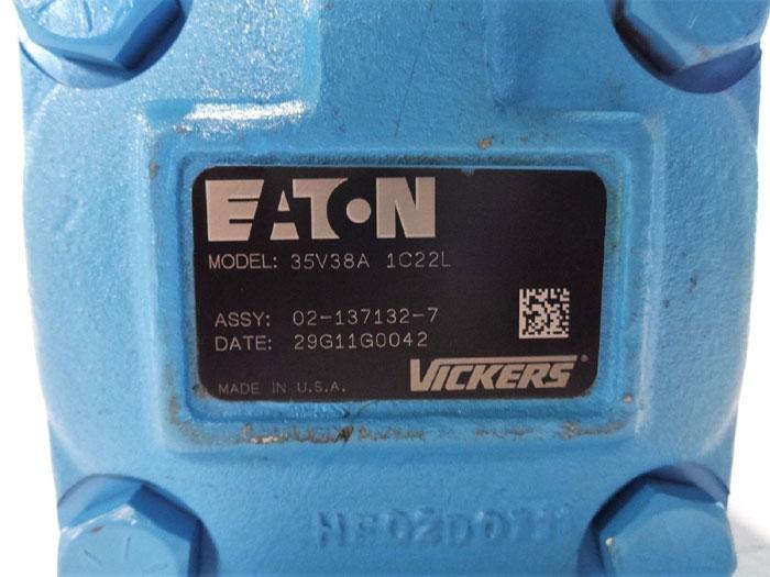 EATON VICKERS HYDRAULIC VANE PUMP MODEL# 35V38A 1C22L ASSY# 02-137132-7