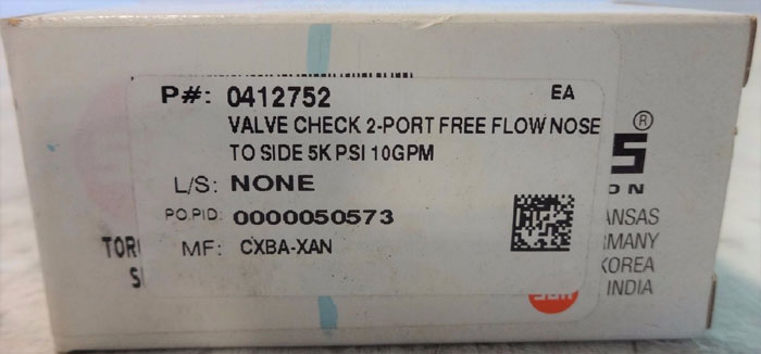 LOT OF (7) SUN HYDRAULICS FREE FLOW NOSE TO SIDE CHECK VALVE CXBA-XAN