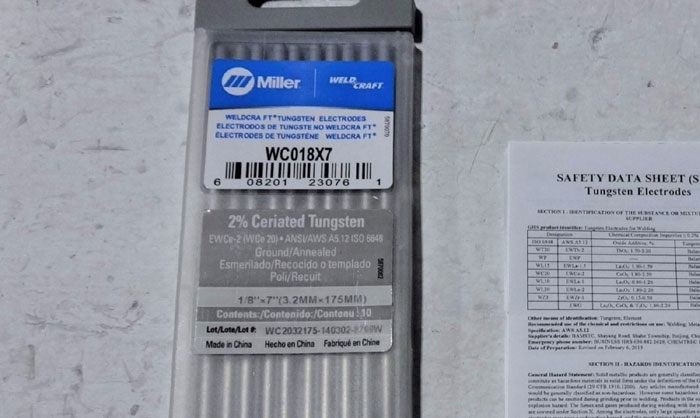 """LOT OF (5) MILLER WELD CRAFT WC018X7 TUNGSTEN ELECTRODES, 2% CERIATED, 1/8"""" X 7"""""""