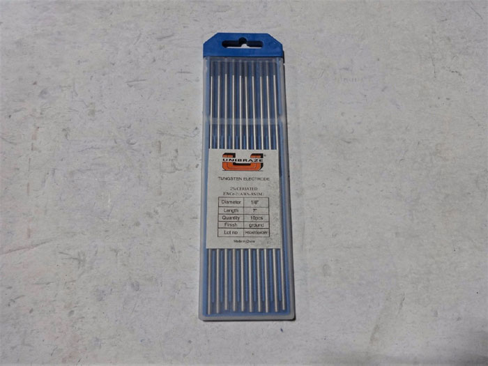 """LOT OF (5) UNIBRAZE TUNGSTEN ELECTRODES, CERIATED, 1/8"""" X 7"""" - PACKS OF 10"""
