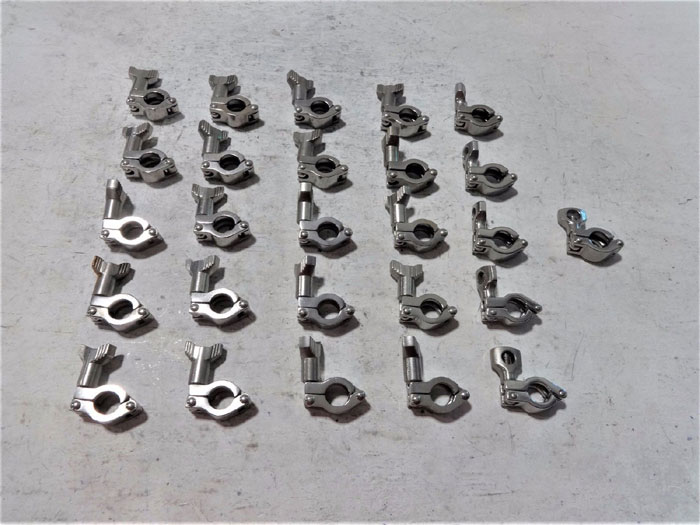 """LOT OF (70) SANITARY HEAVY DUTY TRI-CLAMPS 2-1/2"""", 1-1/2"""" & 3/4"""" STAINLESS STEEL"""
