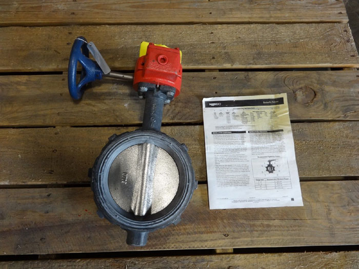 """NIBCO 6"""" WAFER BUTTERFLY VALVE WITH GEAR OPERATOR WD-3510-4"""
