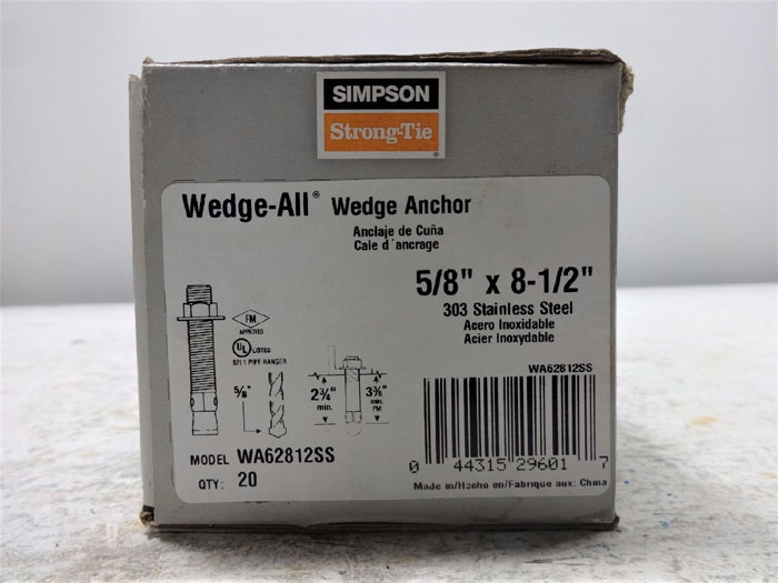 "SIMPSON STRONG-TIE WEDGE-ALL 5/8"" x 8-1/2"" ANCHOR WA62812SS - 20PK BOX"