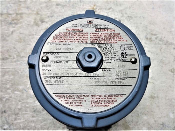 UNITED ELECTRIC PRESSURE SWITCH J120-358