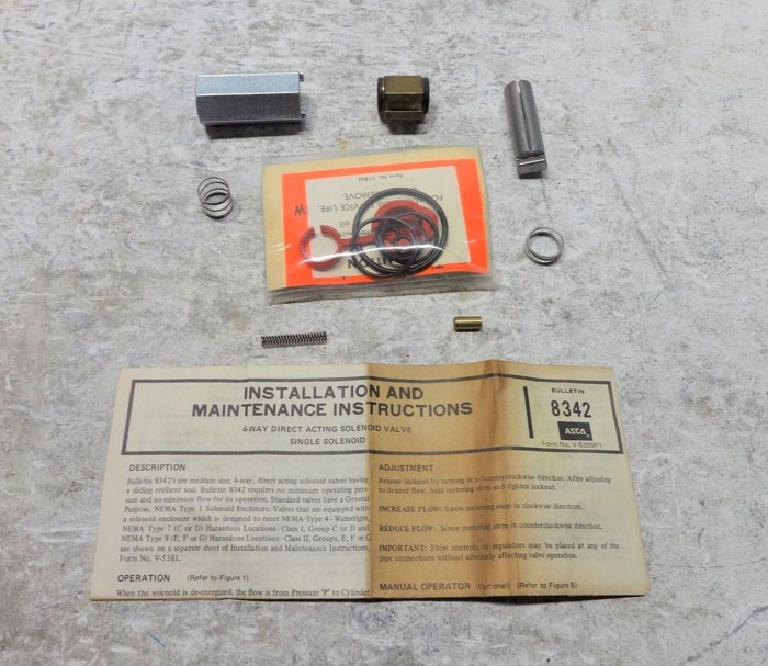 ASCO RED-HAT SPARE PARTS KIT 164-225 CATALOG 8342A1, 2, 3, 4
