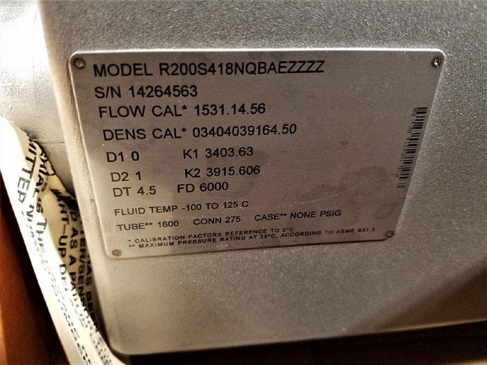 "MICRO MOTION MASS FLOW METER 2"" 150#  R200S418NQBAEZZZZ     (D)"