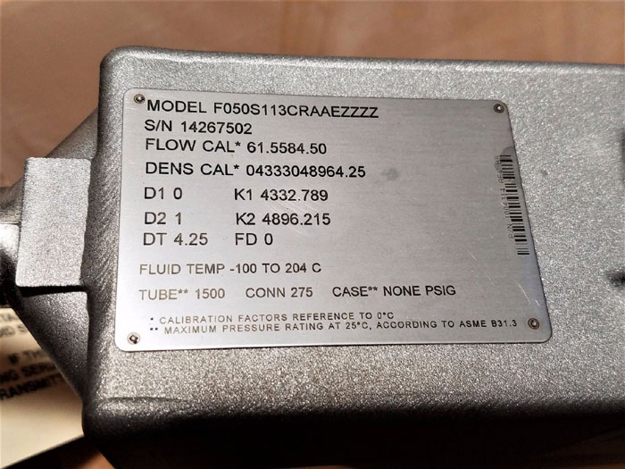 "MICRO MOTION MASS FLOW METER 1/2"" 150#  F050S113CRAAEZZZZ      (K)"