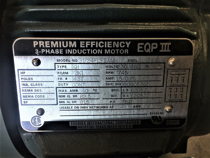 TOSHIBA EQP III 0.5 HP PREMIUM 3-PHASE INDUCTION MOTOR B1/24FLF2AMH