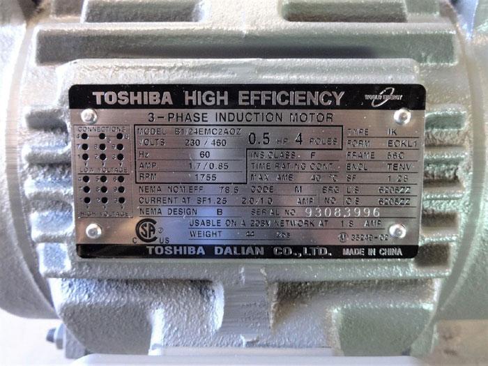 TOSHIBA HIGH EFFICIENCY 0.5 HP 3-PHASE INDUCTION MOTOR B1/24EMC2AOZ