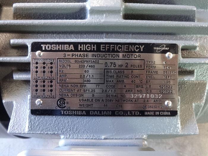 TOSHIBA HIGH EFFICIENCY 0.75 HP 3-PHASE INDUCTION MOTOR B3/42FMF2AOZ