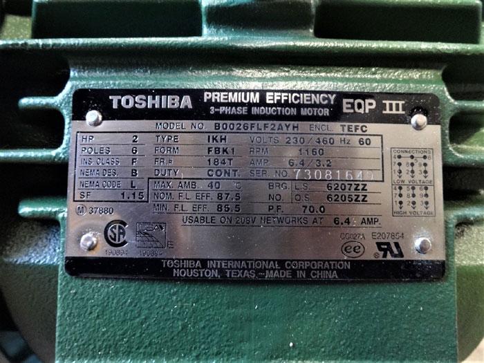 TOSHIBA EQP III PREMIUM EFFICIENCY 2 HP 3-PHASE INDUCTION MOTOR B0026FLF2AYH