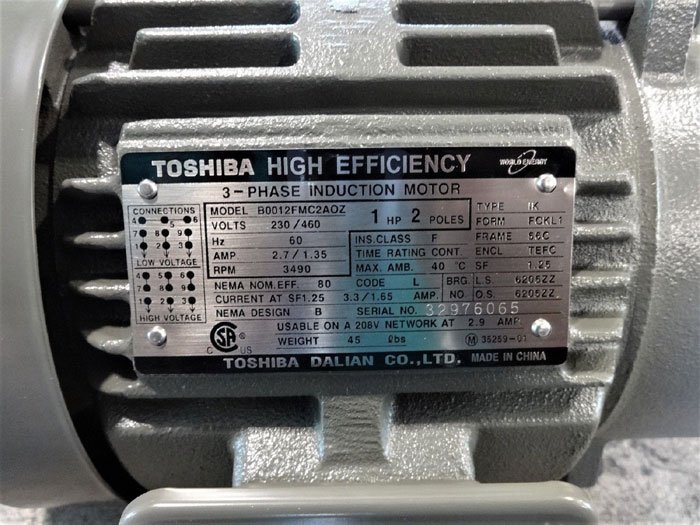 TOSHIBA 1 HP HIGH EFFICIENCY 3-PHASE INDUCTION MOTOR B0012FMC2AOZ