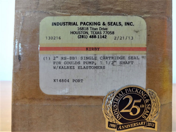 "INDUSTRIAL PACKING & SEALS 2"" SINGLE CARTRIDGE SEAL FOR GOULDS PUMP RS-8B1"