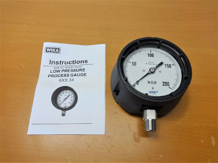 LOT OF (6) PRESSURE GAUGES WIKA 200 IN. H2O 632.34 & WINTERS 0-1000PSI PPB5070R1