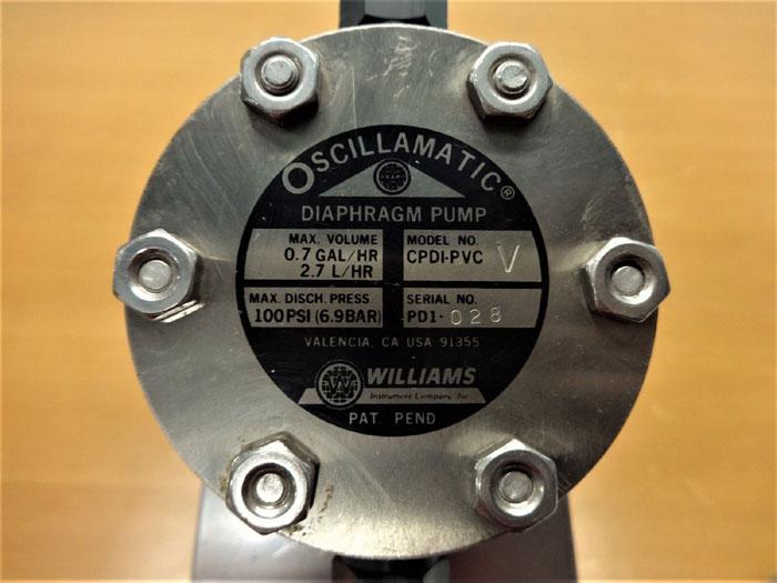 WILLIAMS OSCILLAMATIC DIAPHRAGM PUMP CPDI-PVC V