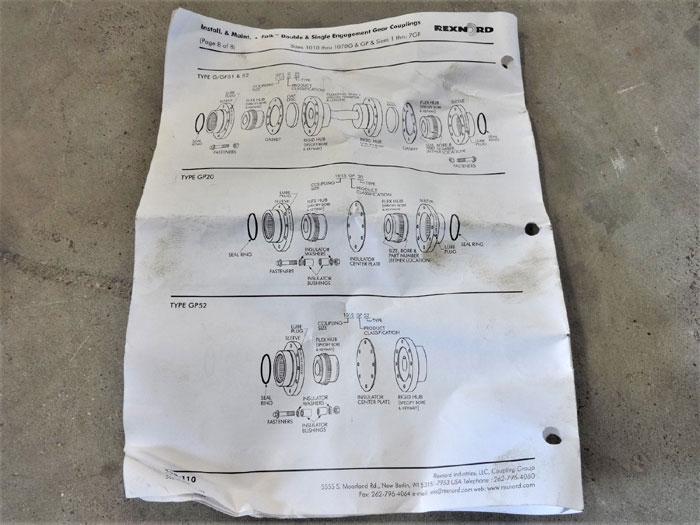 Rexnord Falk Gear Coupling Kit Type Gp20 Sleeve Flex