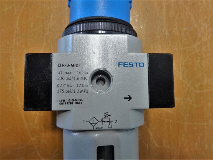 """FESTO LFR-D-MIDI PNEUMATIC FILTER  1/2"""" NPT LFR-1/2-D-MIDI-00173788"""