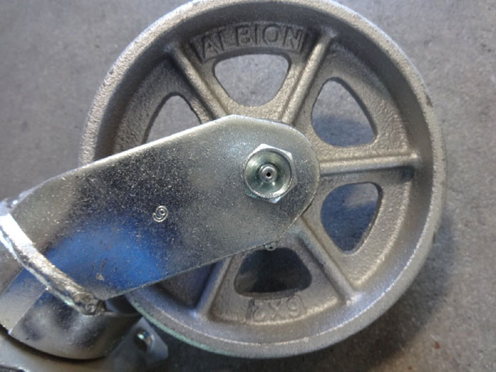 """LOT OF ALBION 6"""" x 2"""" SWIVEL CASTERS, IRON, 1,200 LB. CAPACITY, TOP PLATE MOUNT"""