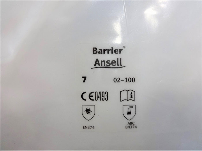 ANSELL 2-100 BARRIER CHEMICAL RESISTANT GLOVES - SIZE 6 & 7 - LOT OF (36) PAIRS