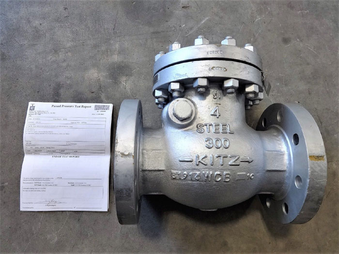 "KITZ 4"" 300# WCB SWING CHECK VALVE W/ MONEL DISC, SEAT & HINGE & MTR DOCUMENTS"
