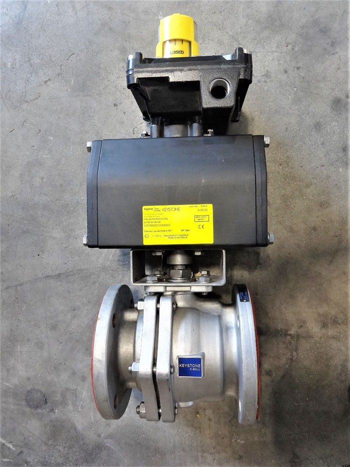 "KEYSTONE 3"" 150# CF8M 2-PC FULL-PORT K-BALL BALL VALVE TYPE F190 W/ ACTUATOR"
