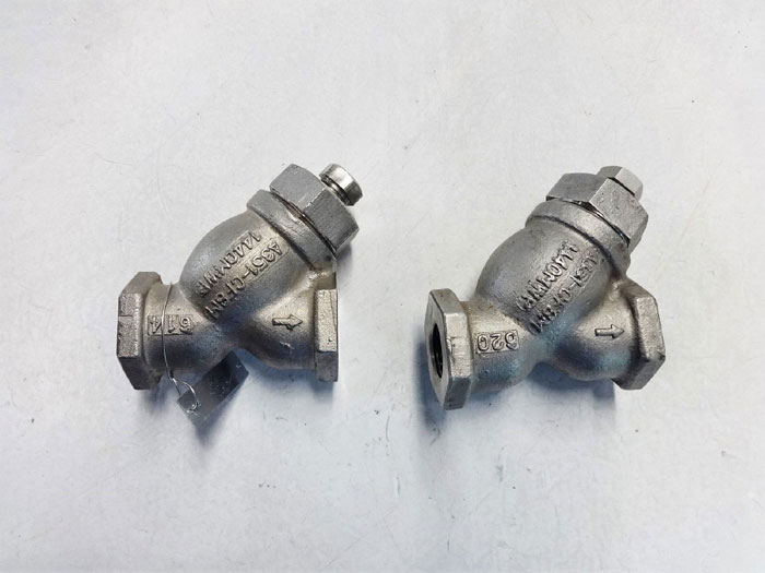 "LOT OF (2) TITAN FCI 1/2"" NPT Y-STRAINER VALVES, A351-CF8M MATERIAL, #YS81"