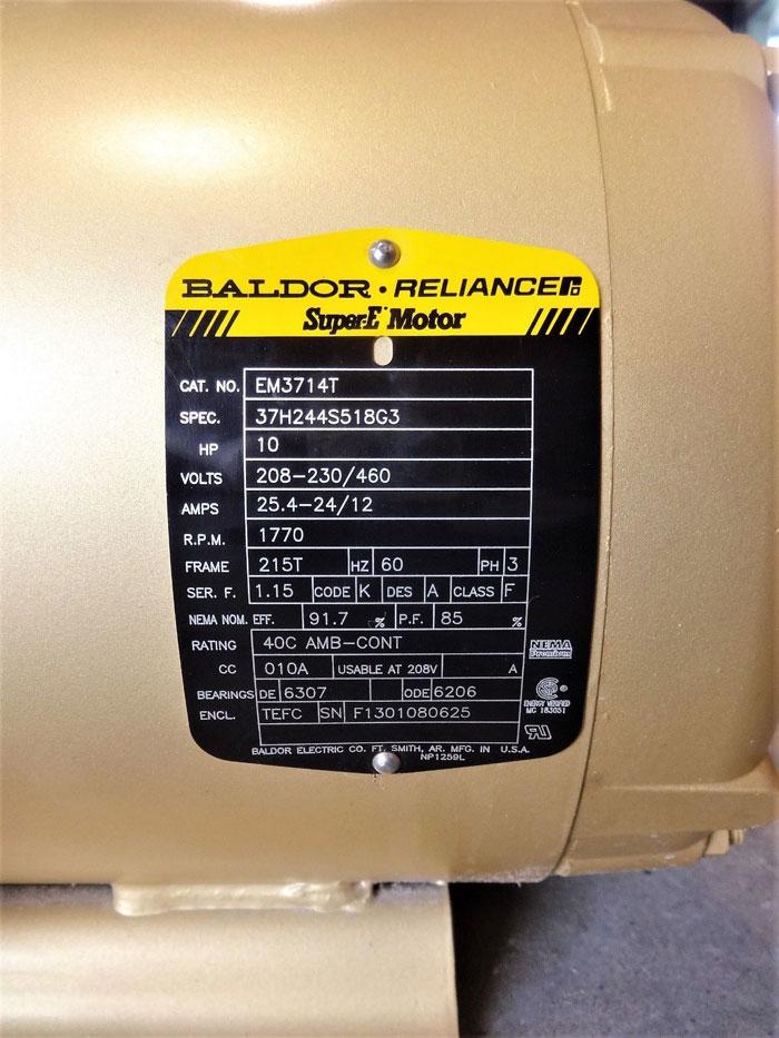 BALDOR RELIANCE SUPER E MOTOR 10 HP, 1770 RPM, CAT# EM3714T, SPEC# 37H244S518G3