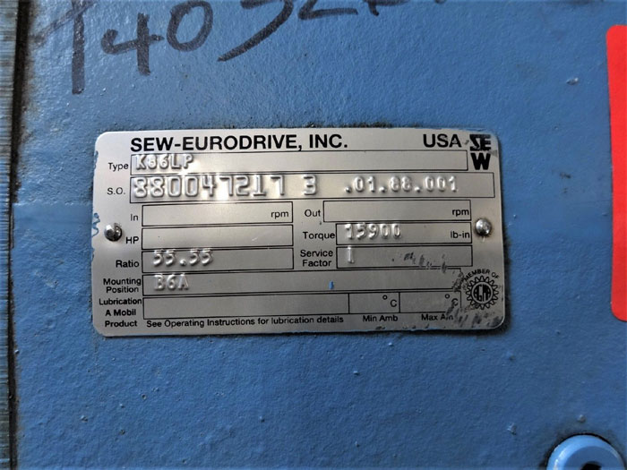 SEW-EURODRIVE GEAR REDUCER TYPE K86LP, RATIO 55.55