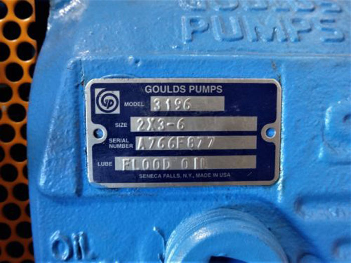 """GOULDS 3196 I-FRAME PROCESS CENTRIFUGAL PUMP 2""""x3""""-6"""", NICKEL MATERIAL"""