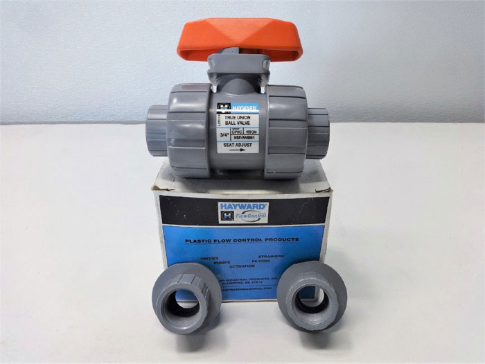 "Hayward TB2075ST CPVC True Union Ball Valve 3/4"", Socket/Thrd Viton, Lot of 2"