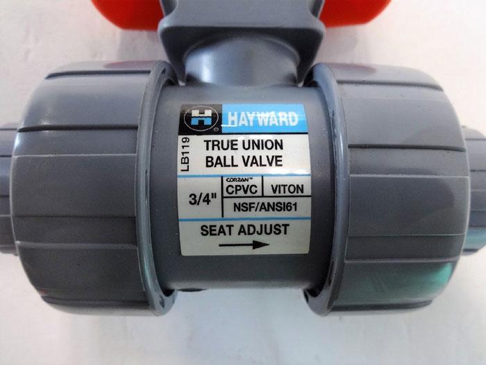 "Hayward TB2075ST CPVC True Union Ball Valve 3/4"", Socket/Thrd Viton, Lot of 2"
