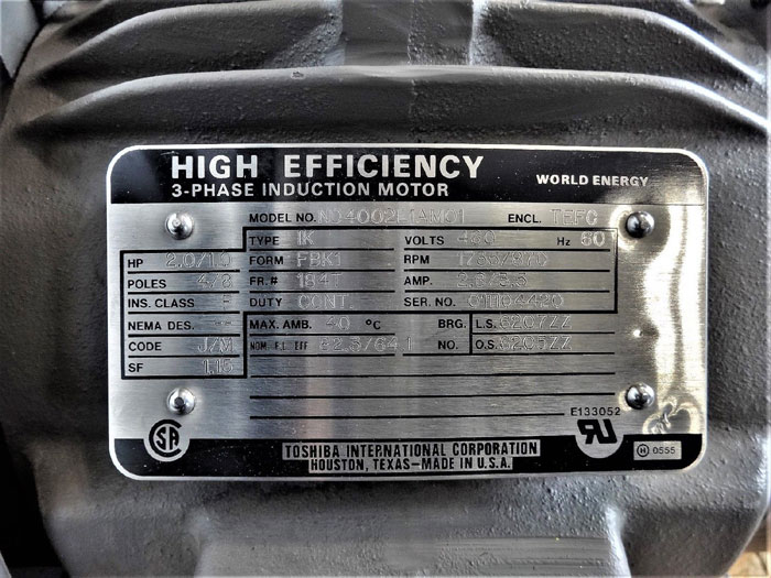 Toshiba ND4002L1AM01 High Efficiency 3-Phase Induction Motor, 2 HP, 1735 RPM