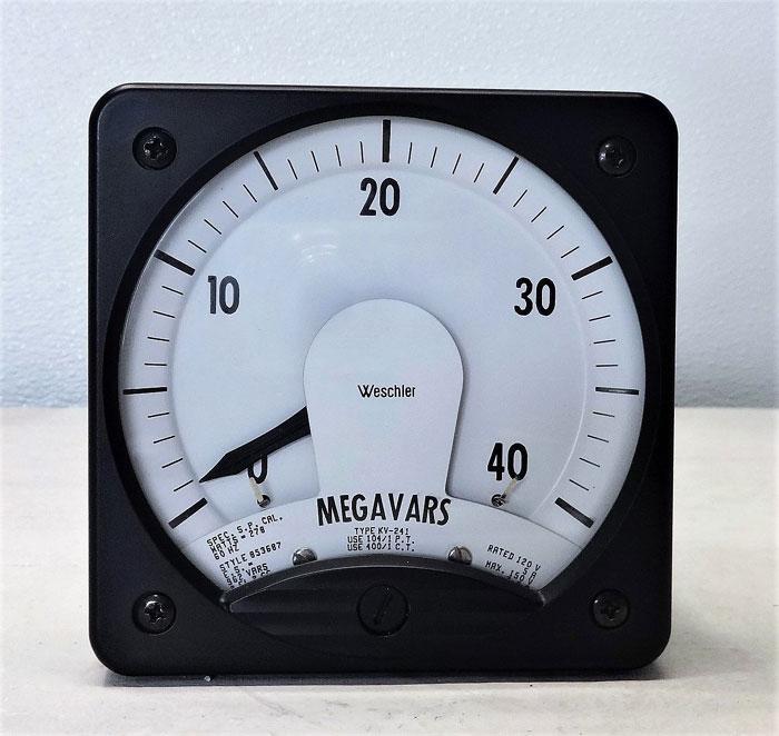 Weschler Megavars Varmeter Type KV-241, 0-40 Megavars Range