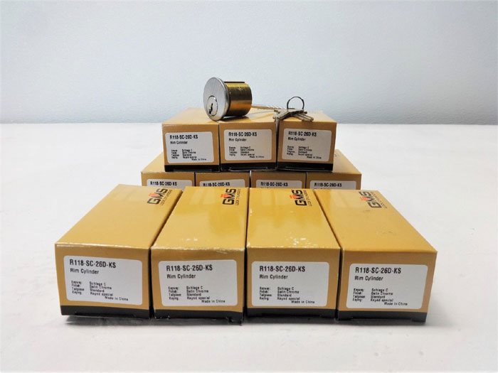 GMS Lock Rim Cylinders R118-SC-26D-KS, Schlage C, Satin Chrome - Lot of (13)