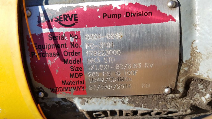 Flowserve Durco Mark 3 Centrifugal Pump, MK3 Standard, 1K1.5X1-82/6.63 RV, CD4M