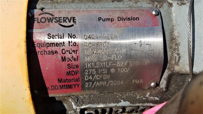 Flowserve Durco Mark 3 Centrifugal Pump, MK3 Lo-Flo, 1K1.5X1LF-82/7.75 OP, CF8M