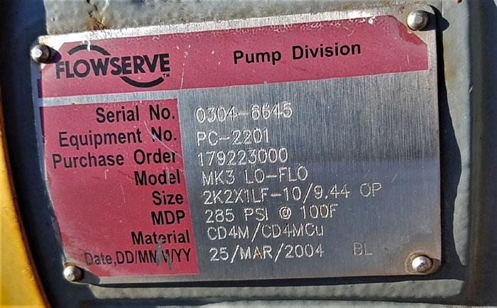 Flowserve Durco Mark 3 Centrifugal Pump, MK3 Lo-Flo, 2K2X1LF-10/9.44 OP, CD4M