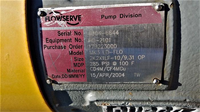 Flowserve Durco Mark 3 Centrifugal Pump, MK3 Lo-Flo, 2K2X1LF-10/9.31 OP, CF4M