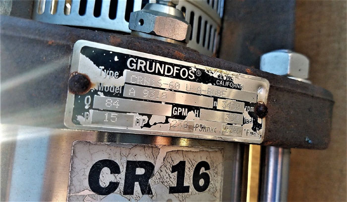 Grundfos Series C Multi-Stage Centrifugal Pump CRN16-60U-A-BUBE A 9318 Stainless