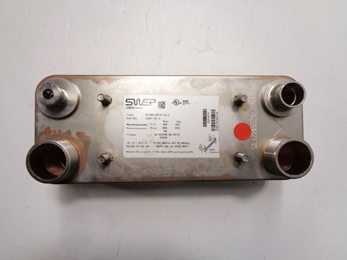 Dover Swep Brazed Plate Heat Exchanger, 20 Plates, B12MTx20/1P-SC-S, 0201197.0