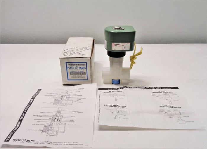 """Plast-O-Matic 1"""" PVDF Valve EASM6V22G58-PF-480 w/ ASCO Solenoid HBX20488609800"""