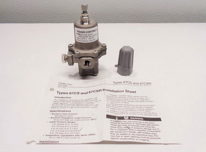 Fisher Controls Stainless Steel Pressure Regulator, 400 PSI, 67CSR-207/V3