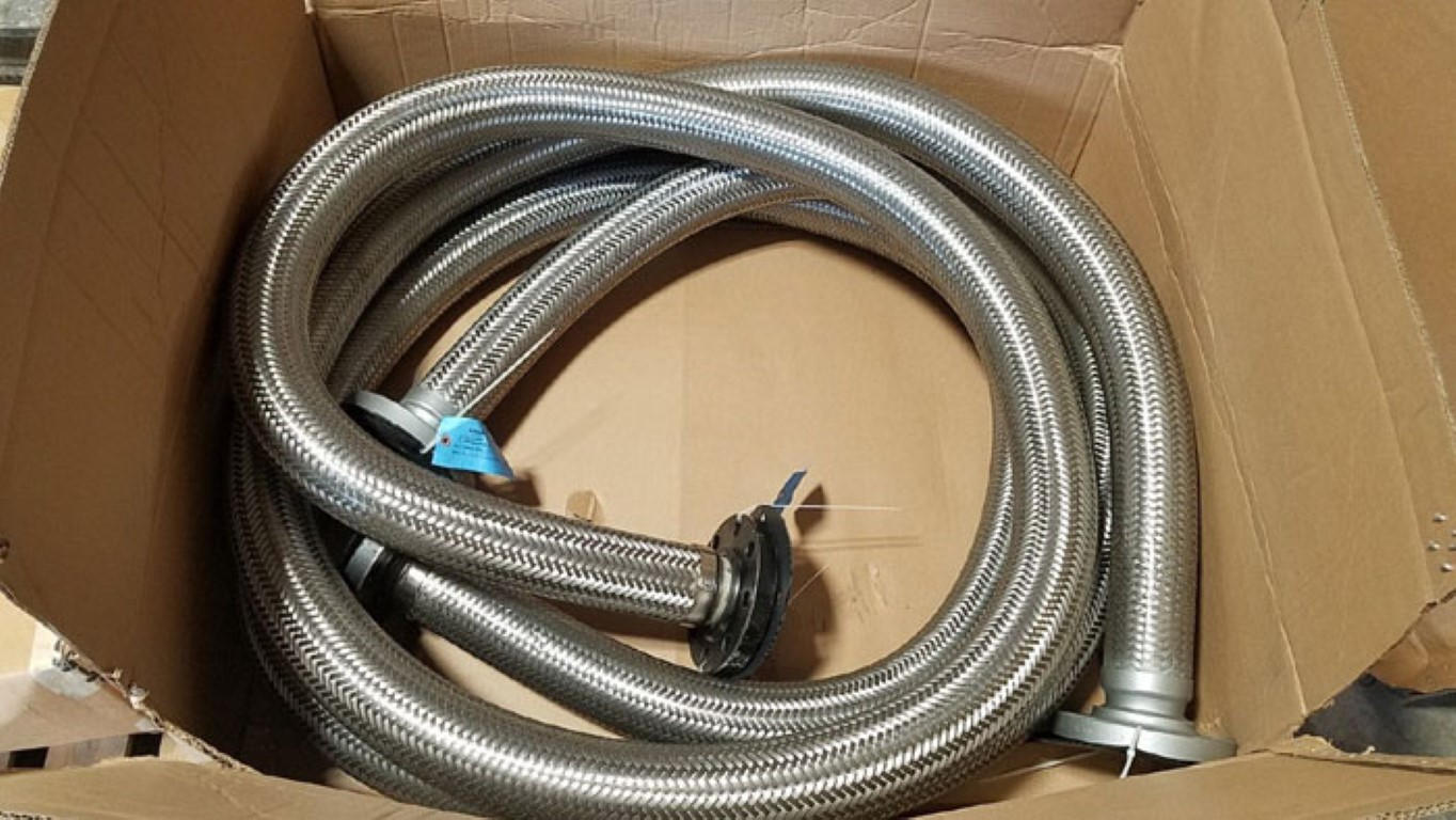 "GHX 3"" 300# Flanged Stainless Steel Flexible Braided Hose, 20ft Long"