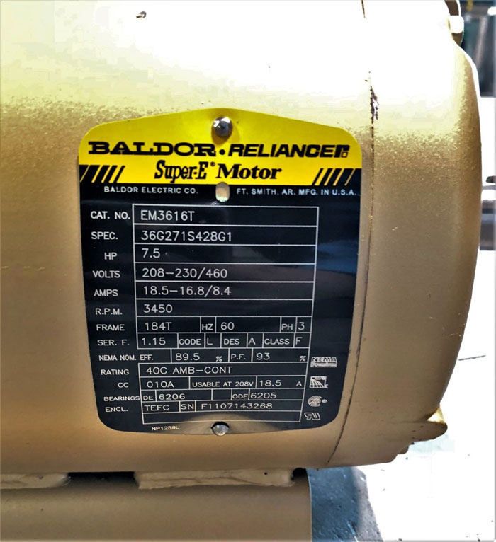 Baldor Reliance Super E Motor Em3616t 7 5 Hp 208 230 460